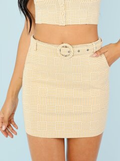 Square Print Belted Mini Skirt