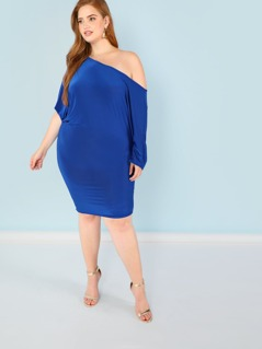 Plus Drop Shoulder Mid Sleeve Dress