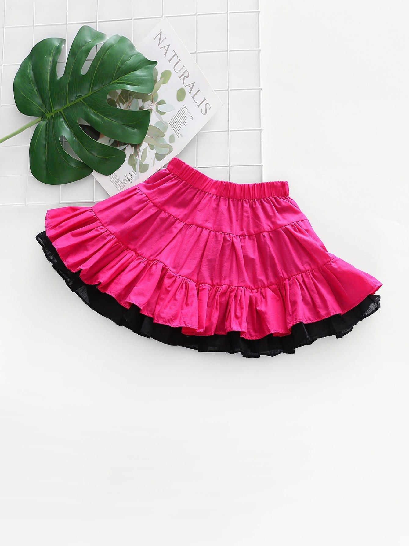Girls Contrast Mesh Ruffle Hem Skirt