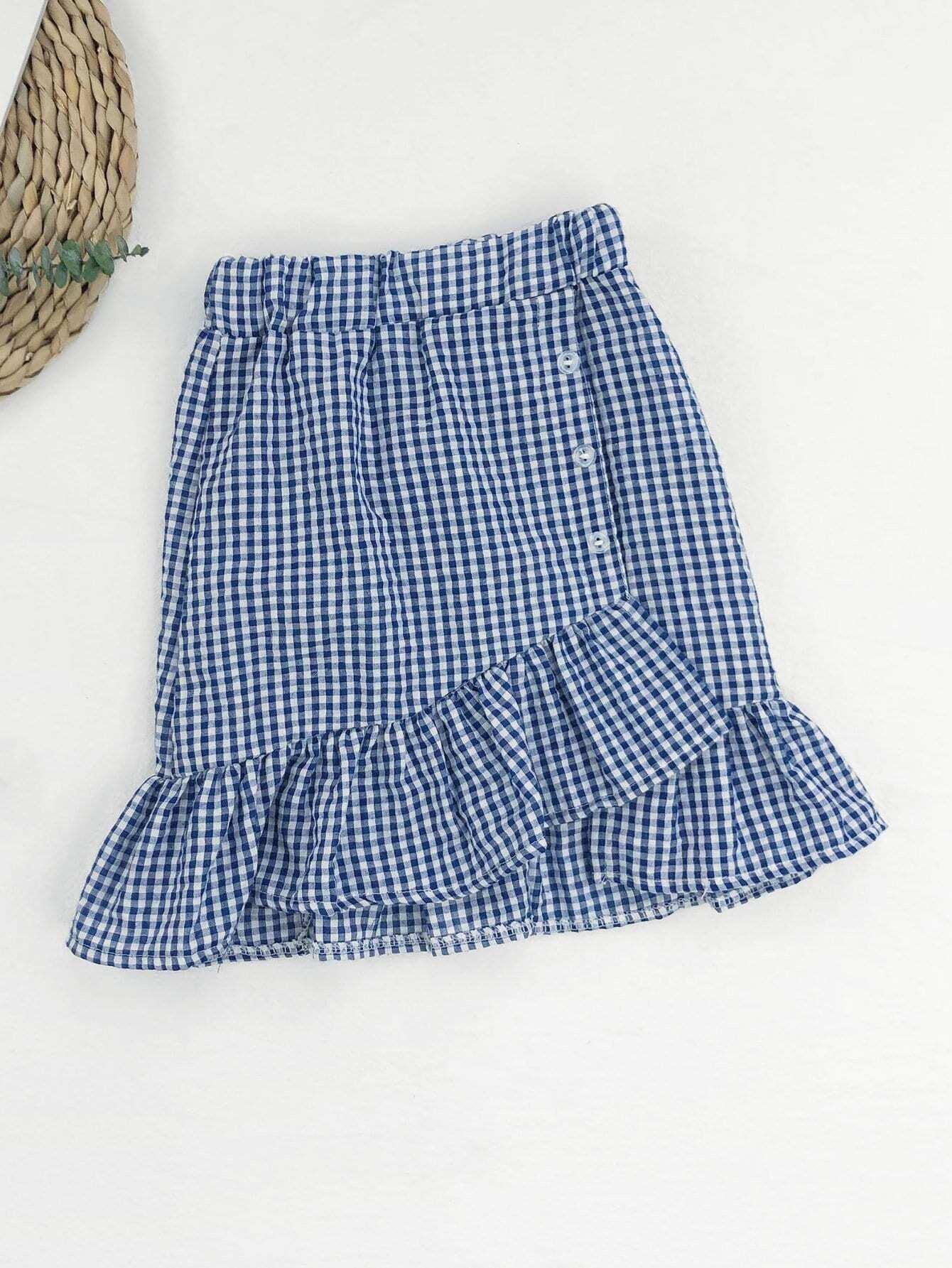 Girls Ruffle Hem Gingham Skirt