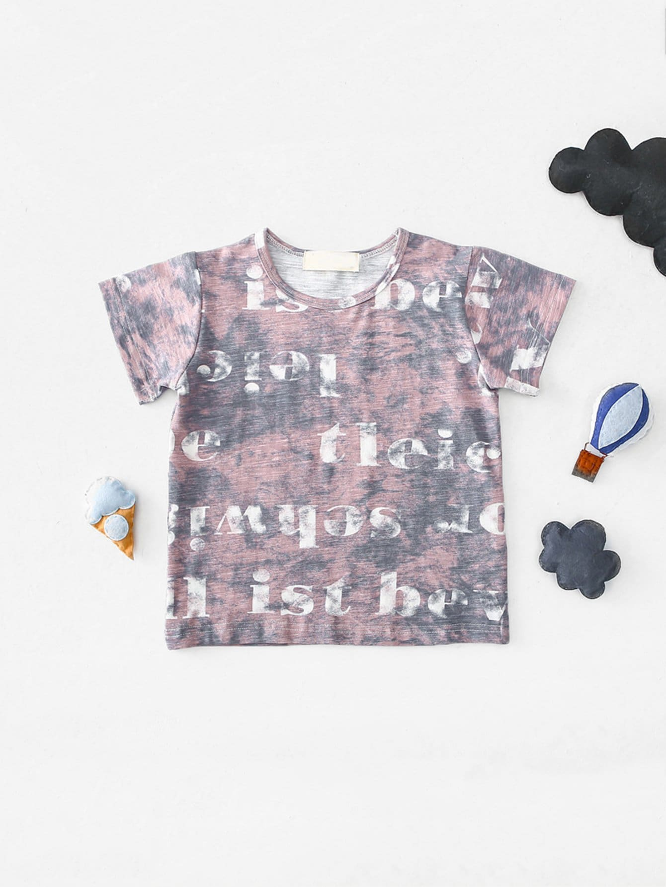 Girls Letter Print Tie Dye T-shirt turndown collar tie dye ink painting print shirt