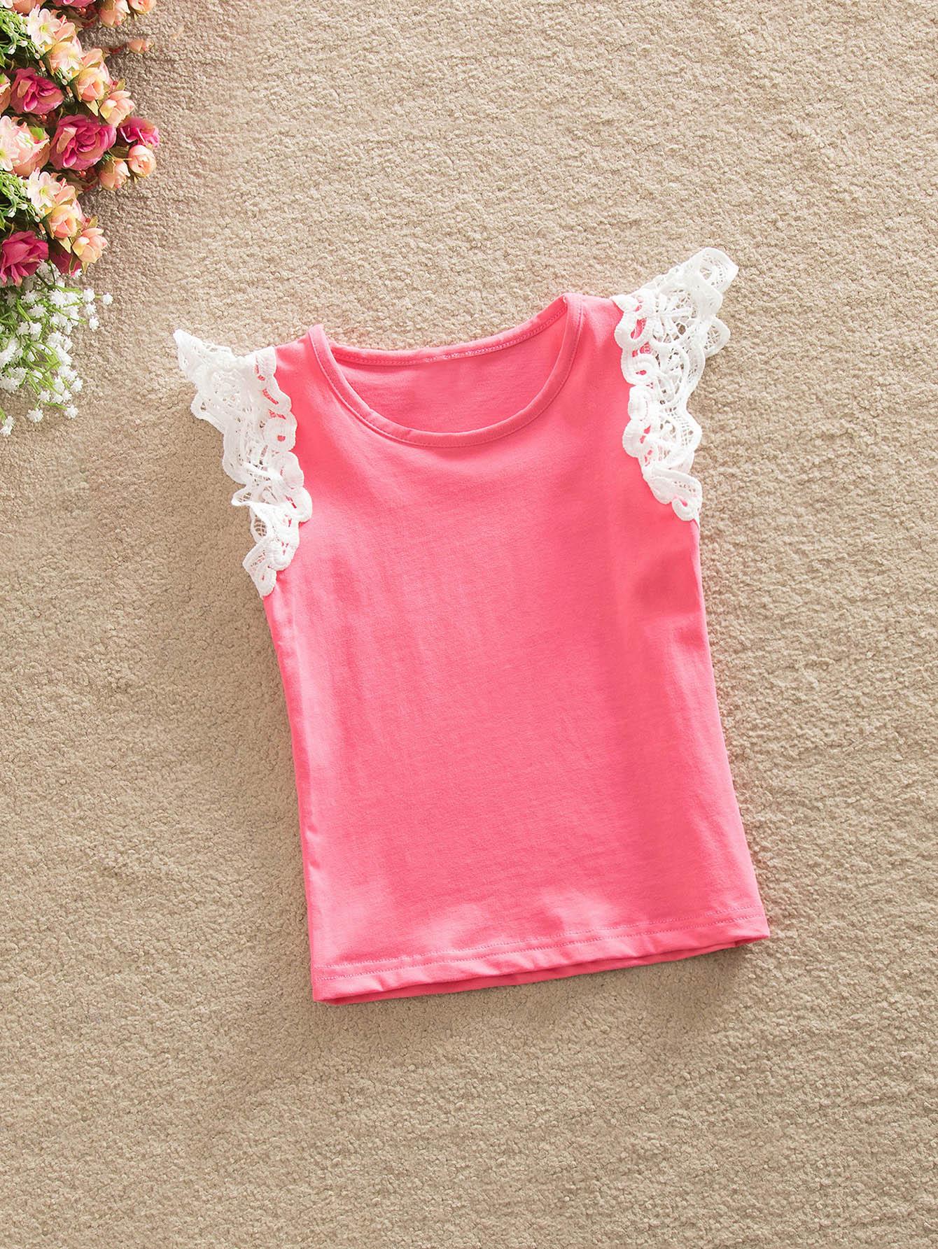 все цены на Girls Contrast Lace Sleeve Solid T-shirt