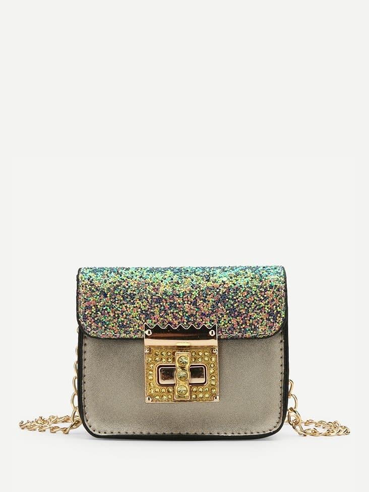 все цены на Twist Lock Detail Sequin Shoulder Bag