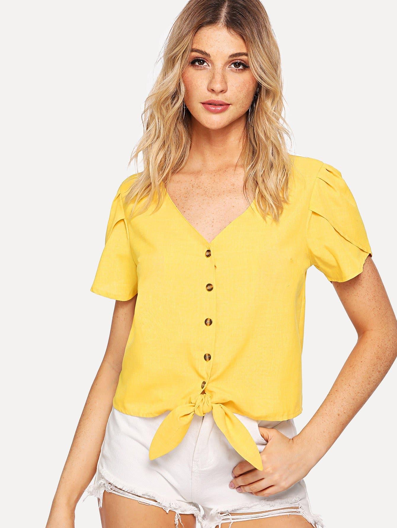 Купить Повседневный Одноцветный Пуговица Желтый Блузы+рубашки, Nathane, SheIn