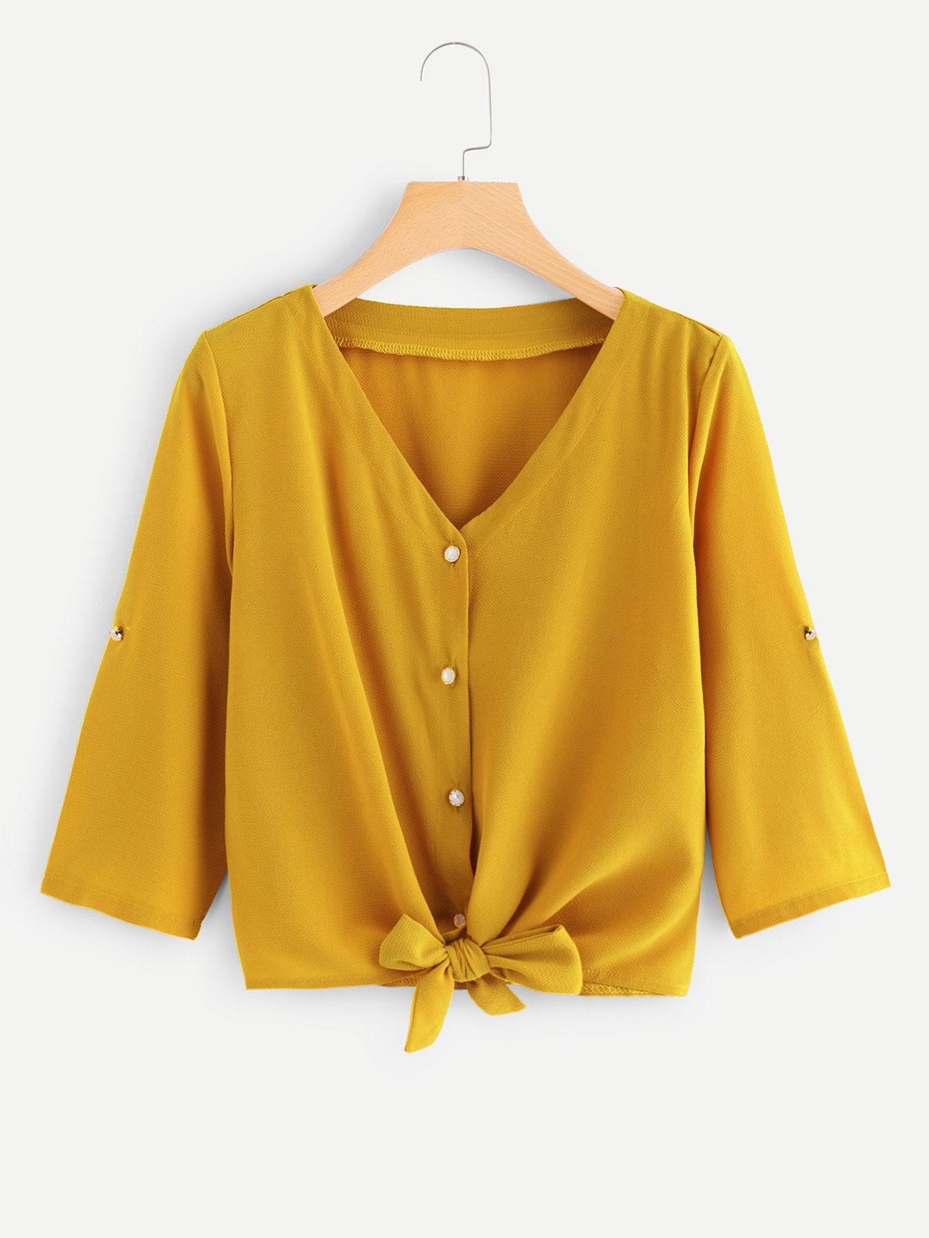 Купить Повседневный Одноцветный Пуговица Имбирный Блузы+рубашки, null, SheIn