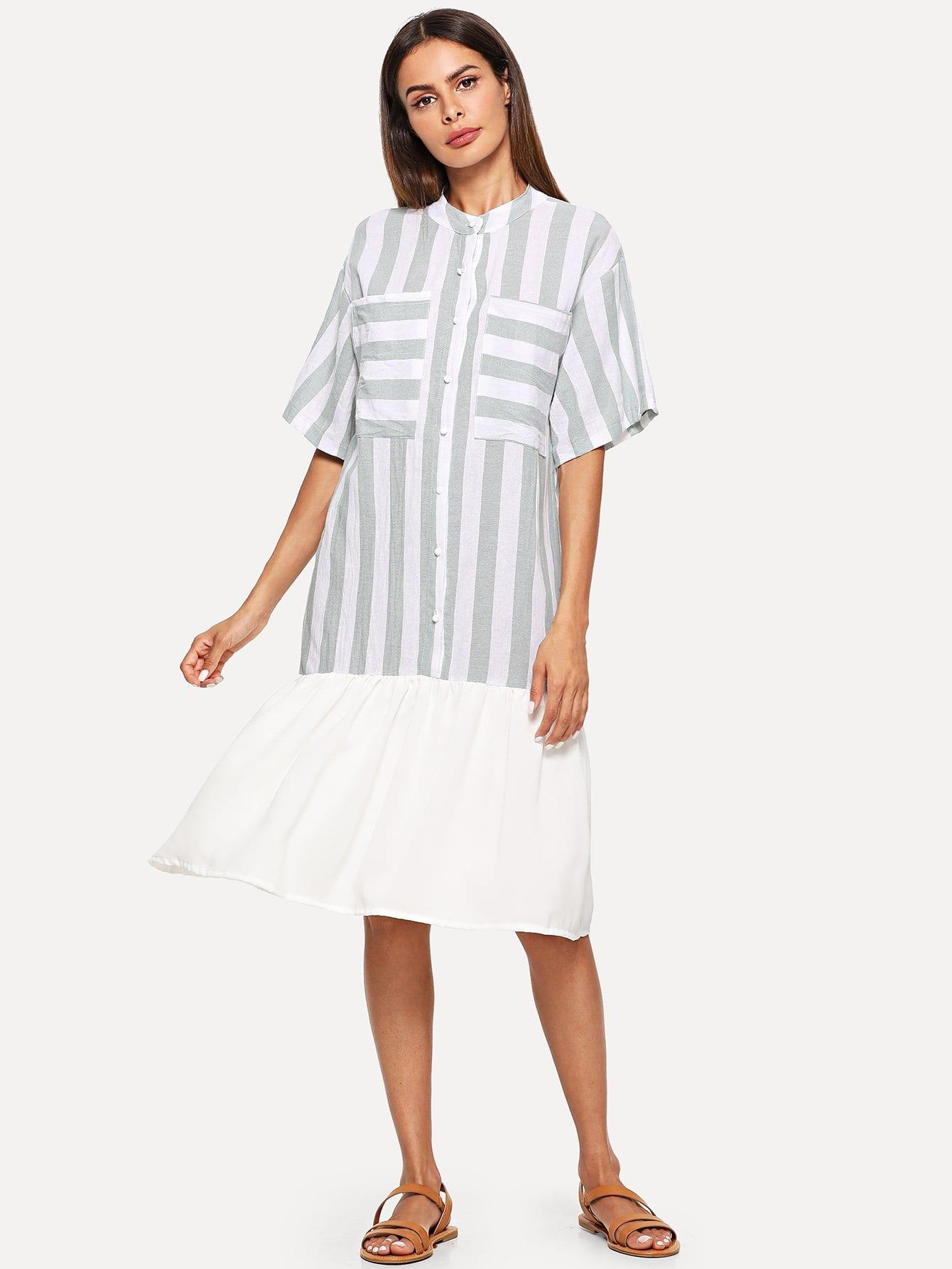Striped Single Breasted Pocket Ruffle Hem Dress ruffle strap and hem striped dress