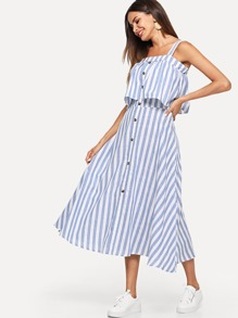 Striped Single Breasted Tiered Dress