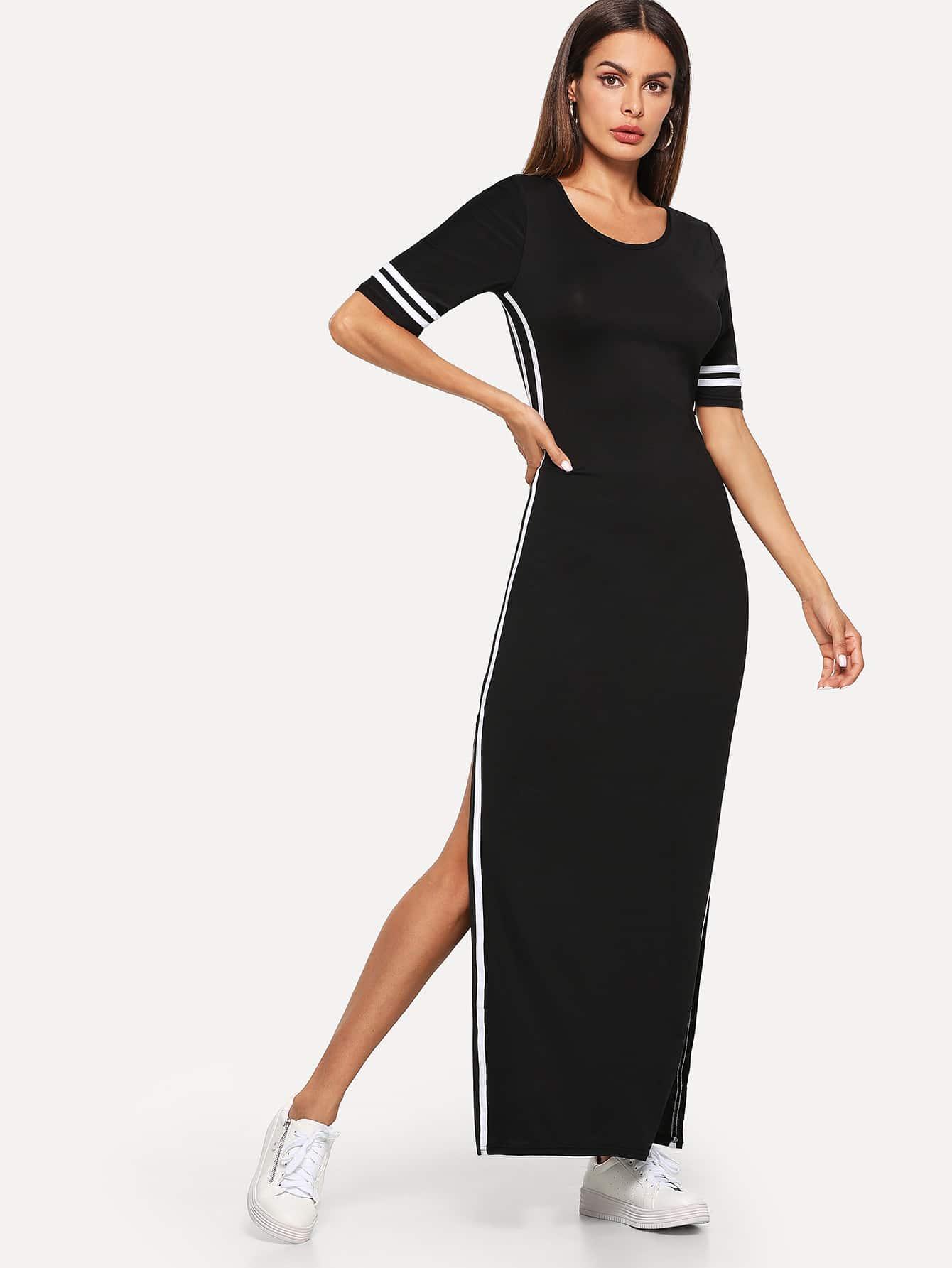 Купить Элегантный стиль Полоска Разрез Чёрные Платья, Andy, SheIn