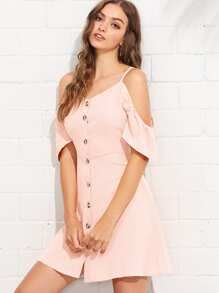 Open Shoulder Single Breasted Dress