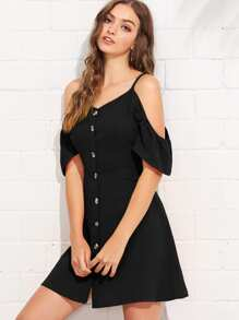 Open Shoulder Single Breasted Dress