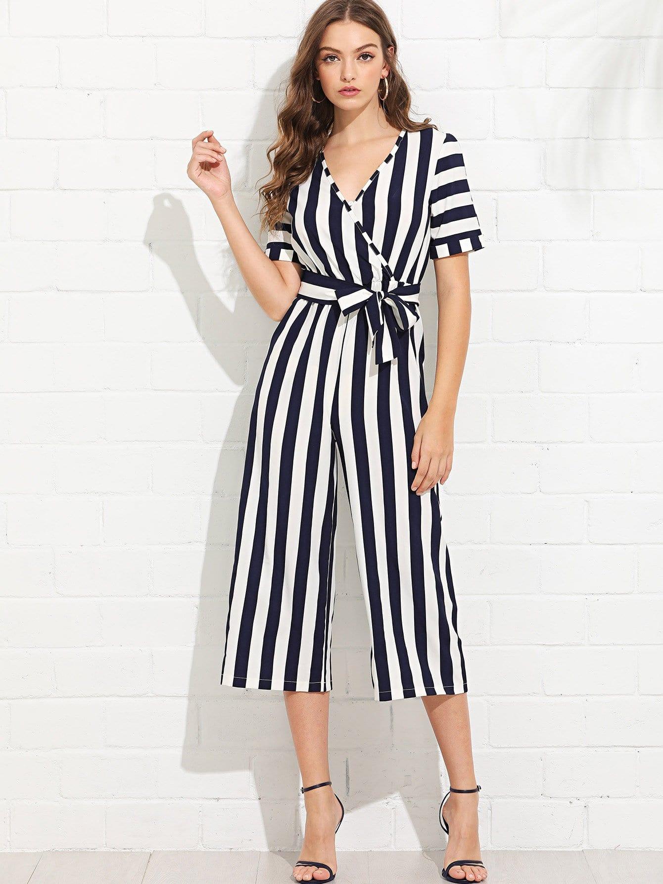 V Neckline Self Tie Waist Striped Jumpsuit surplice neckline self tie cami jumpsuit