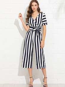 V Neckline Self Tie Waist Striped Jumpsuit
