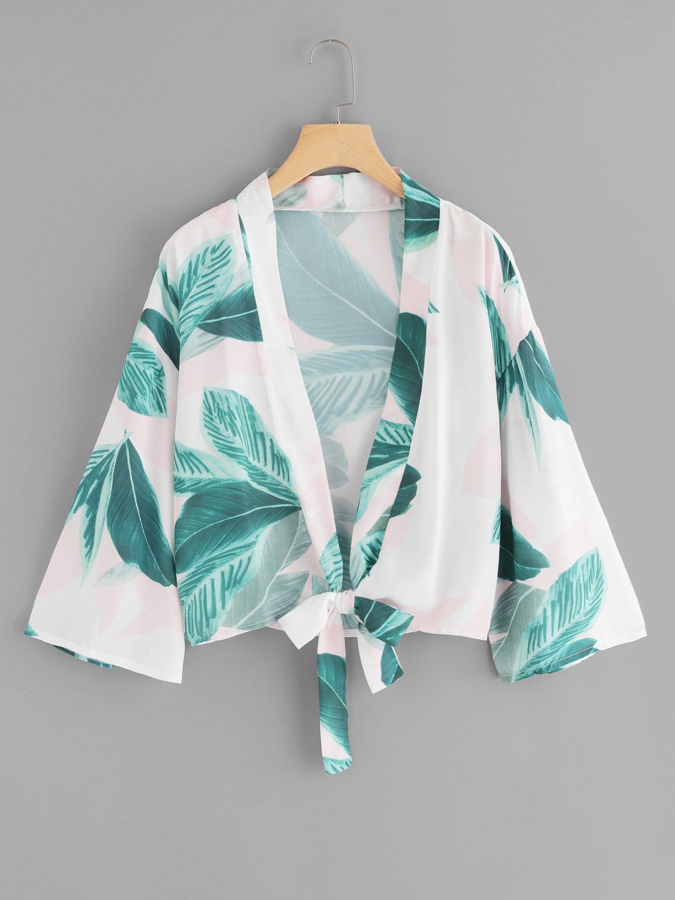 Купить Повседневный с перьями с бантом кимоно Зеленые Кимоно, null, SheIn