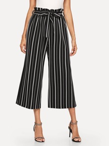 Striped Belted Frill Pants