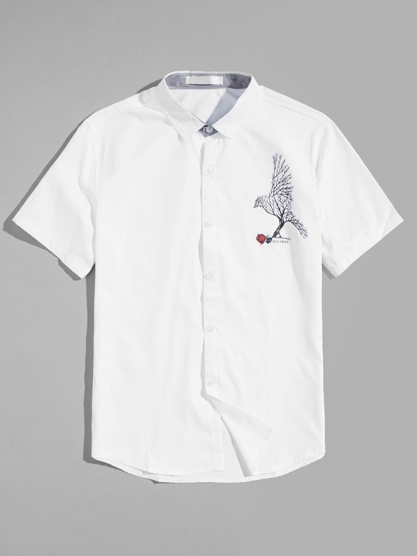 Men Bird Print Blouse men zebra print blouse