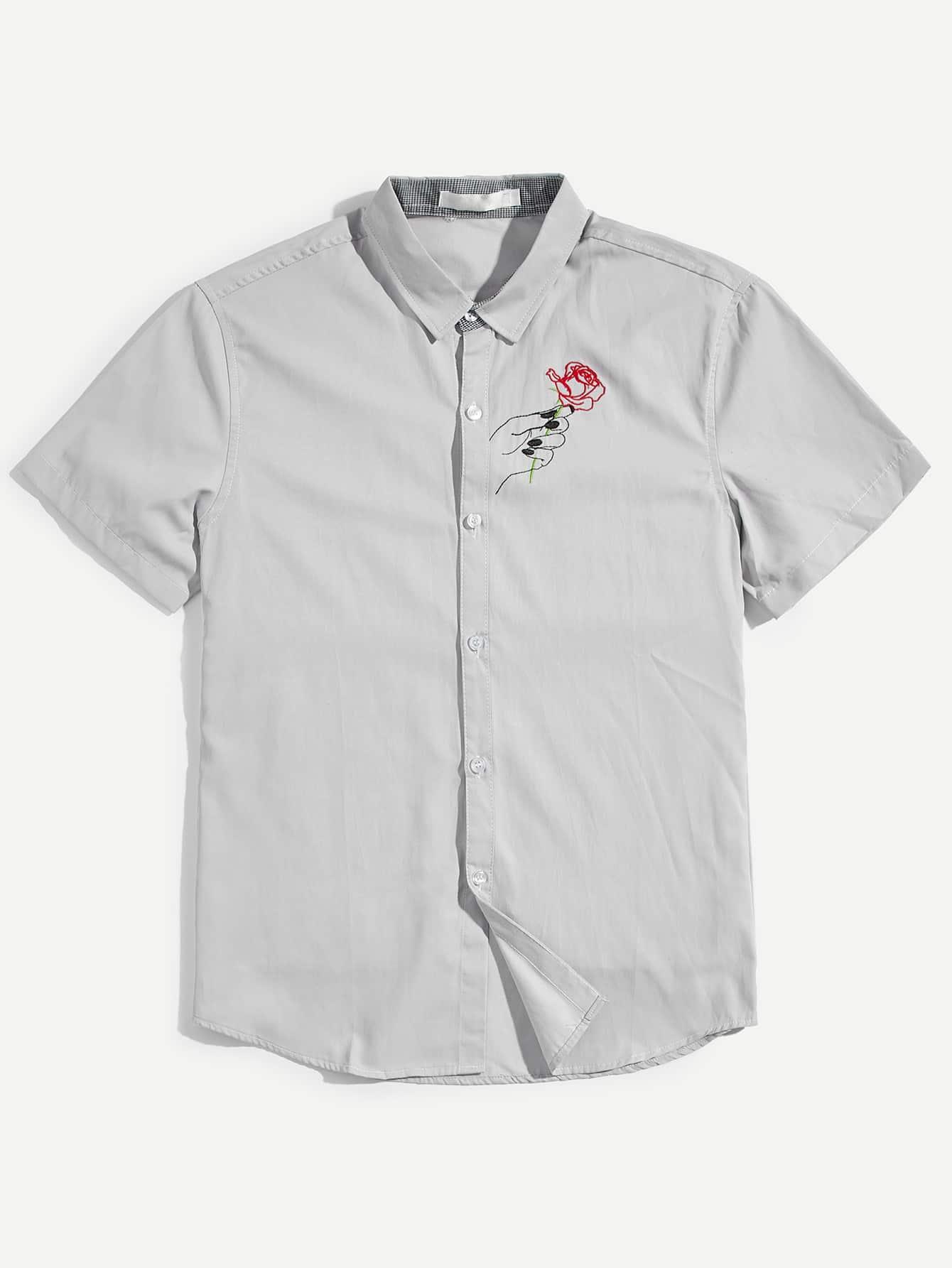 Men Rose Print Blouse men zebra print blouse