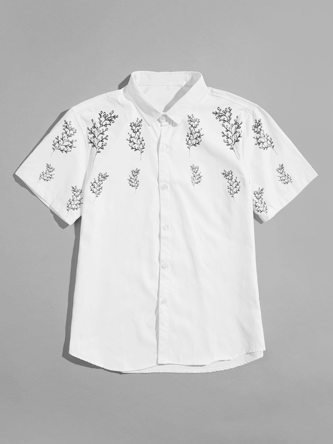 Men Leaf Print Blouse men zebra print blouse