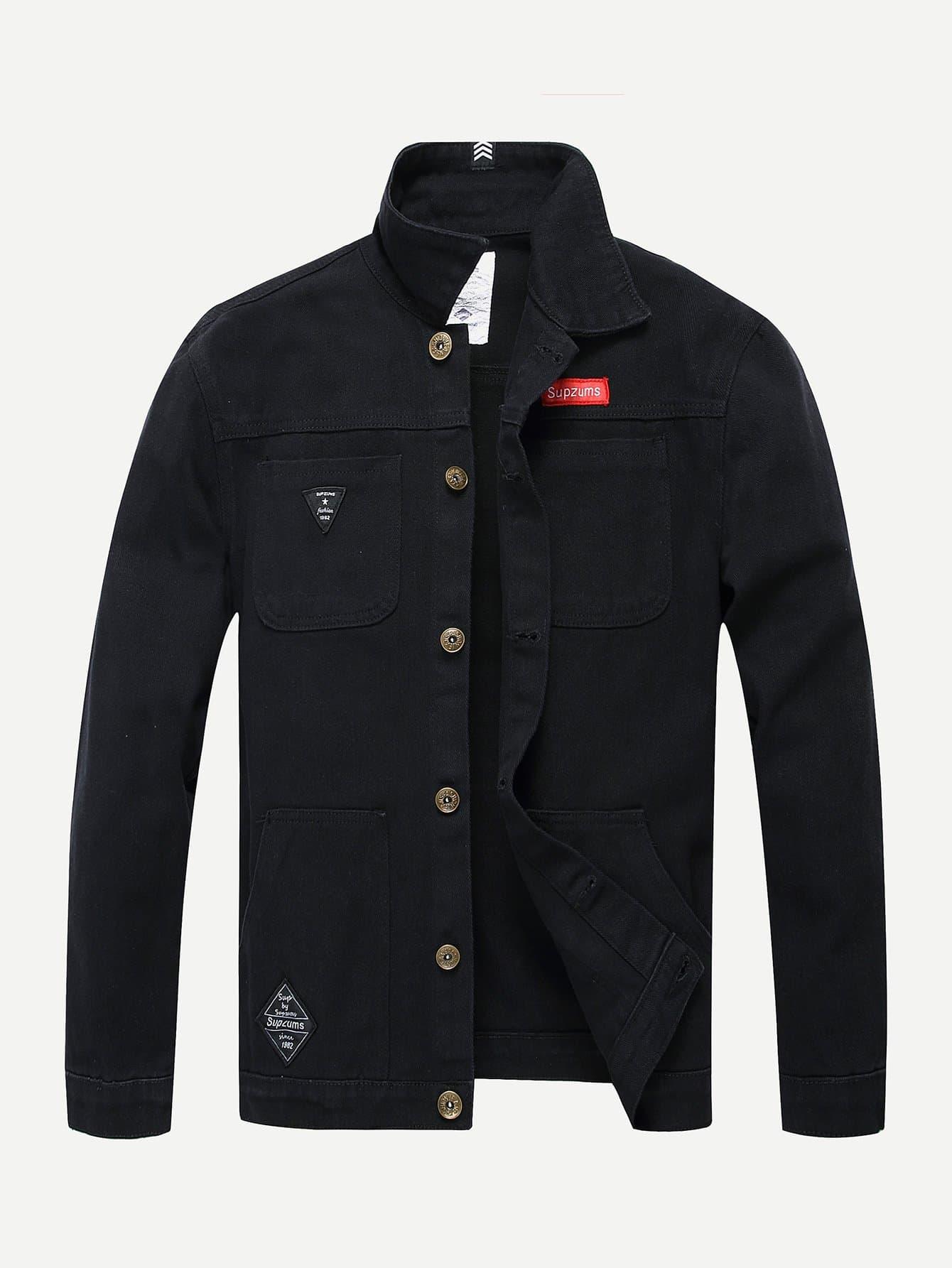 Мужчины Латали Украшение Джинсовой Куртке