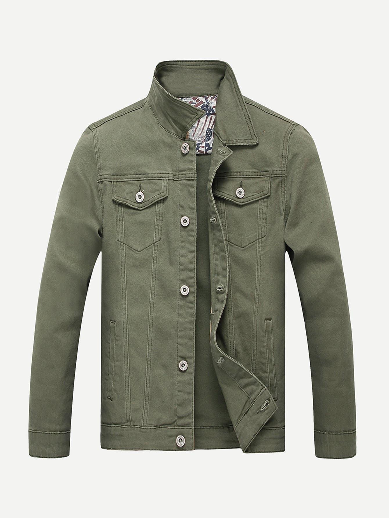 Мужчины Контрастной Отстрочкой Обычная Джинсовая Куртка