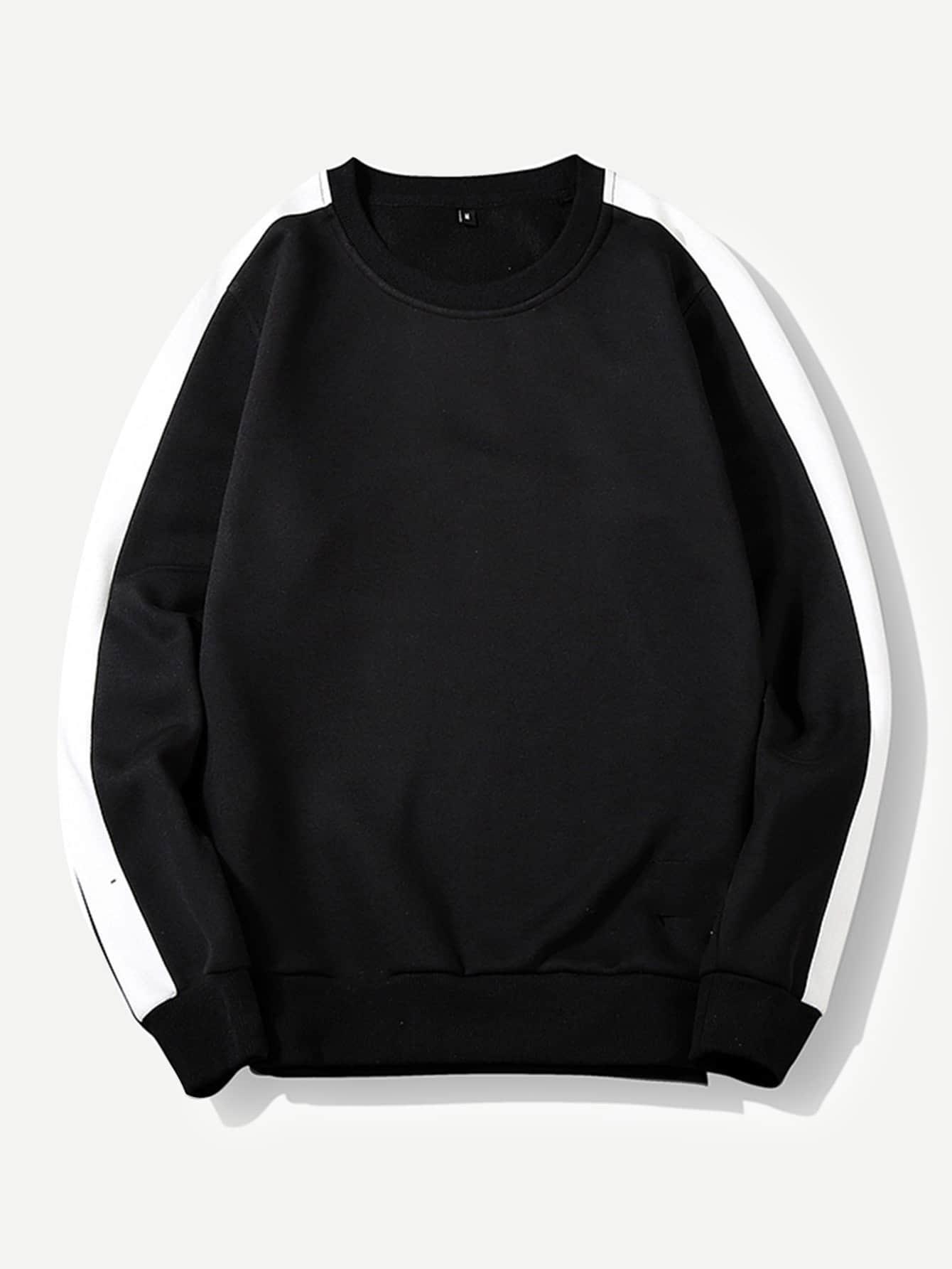 Купить Контрастный цвет Черный Мужские толстовки, null, SheIn