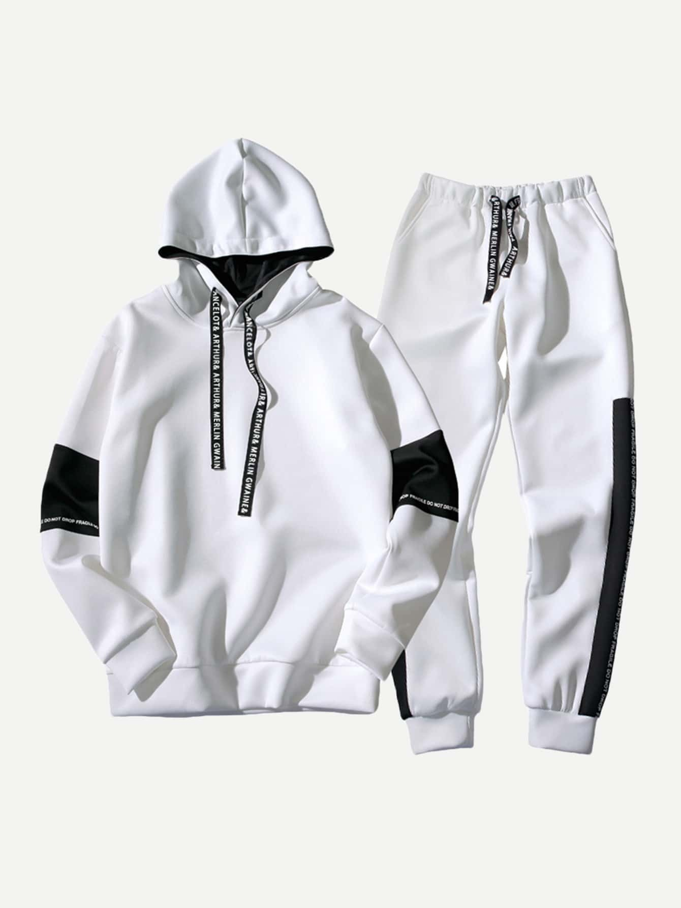 Men Contrast Panel Letter Print Hooded Sweatshirt With Drawstring Pants ssd накопитель sandisk x600 sd9sn8w 512g 1122 512гб m 2 2280 sata iii