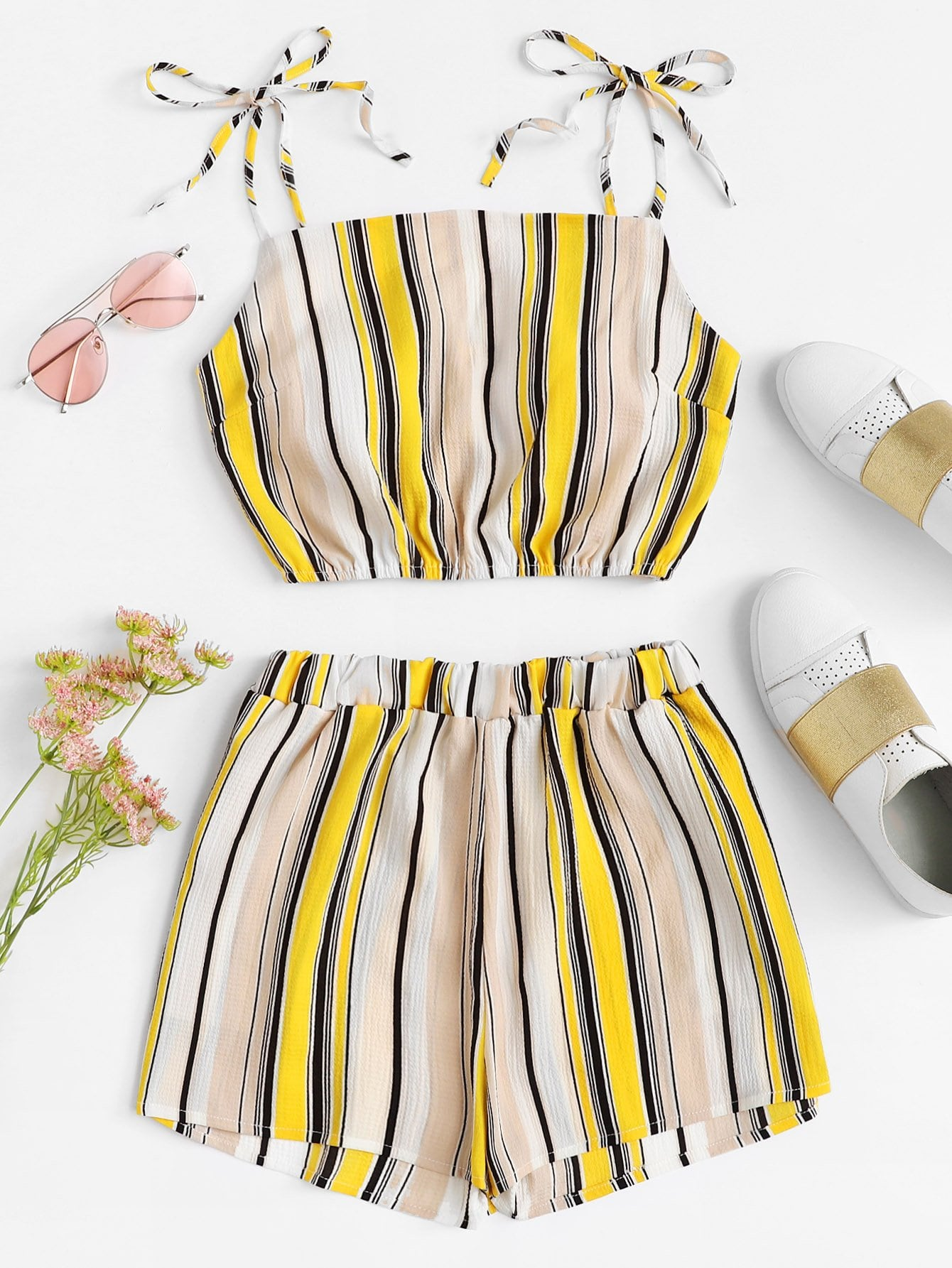 Tie Shoulder Striped Top With Shorts