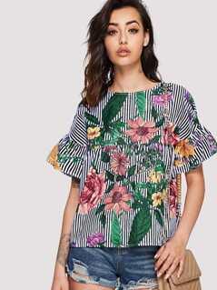 Ruffle Sleeve Floral & Stripe Top