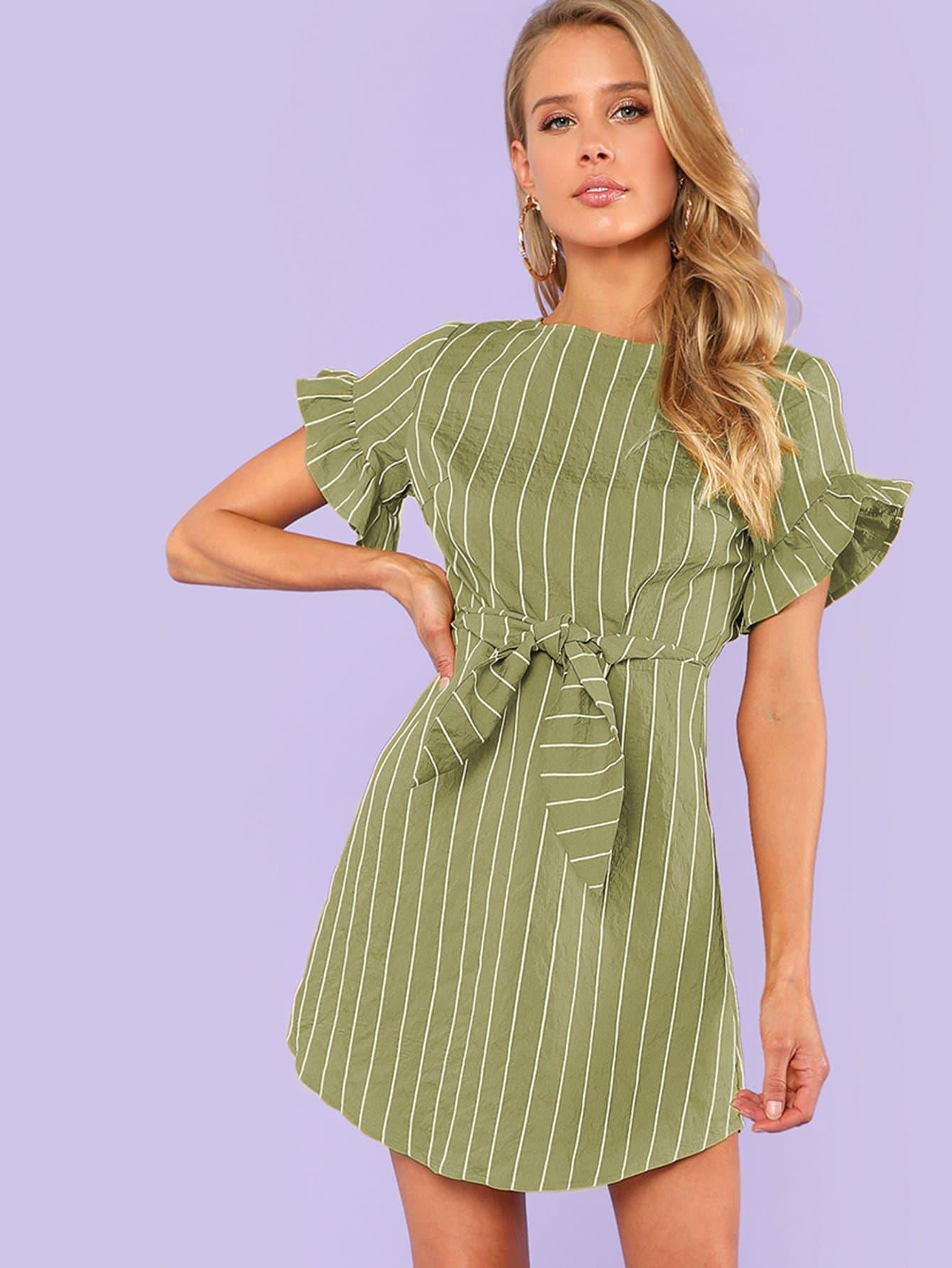 Купить Платье с полосками и оборками, Noelle Brown, SheIn