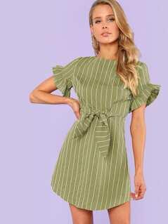 Flounce Sleeve Striped Dress