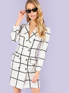 Notched Collar Button Up Grid Dress