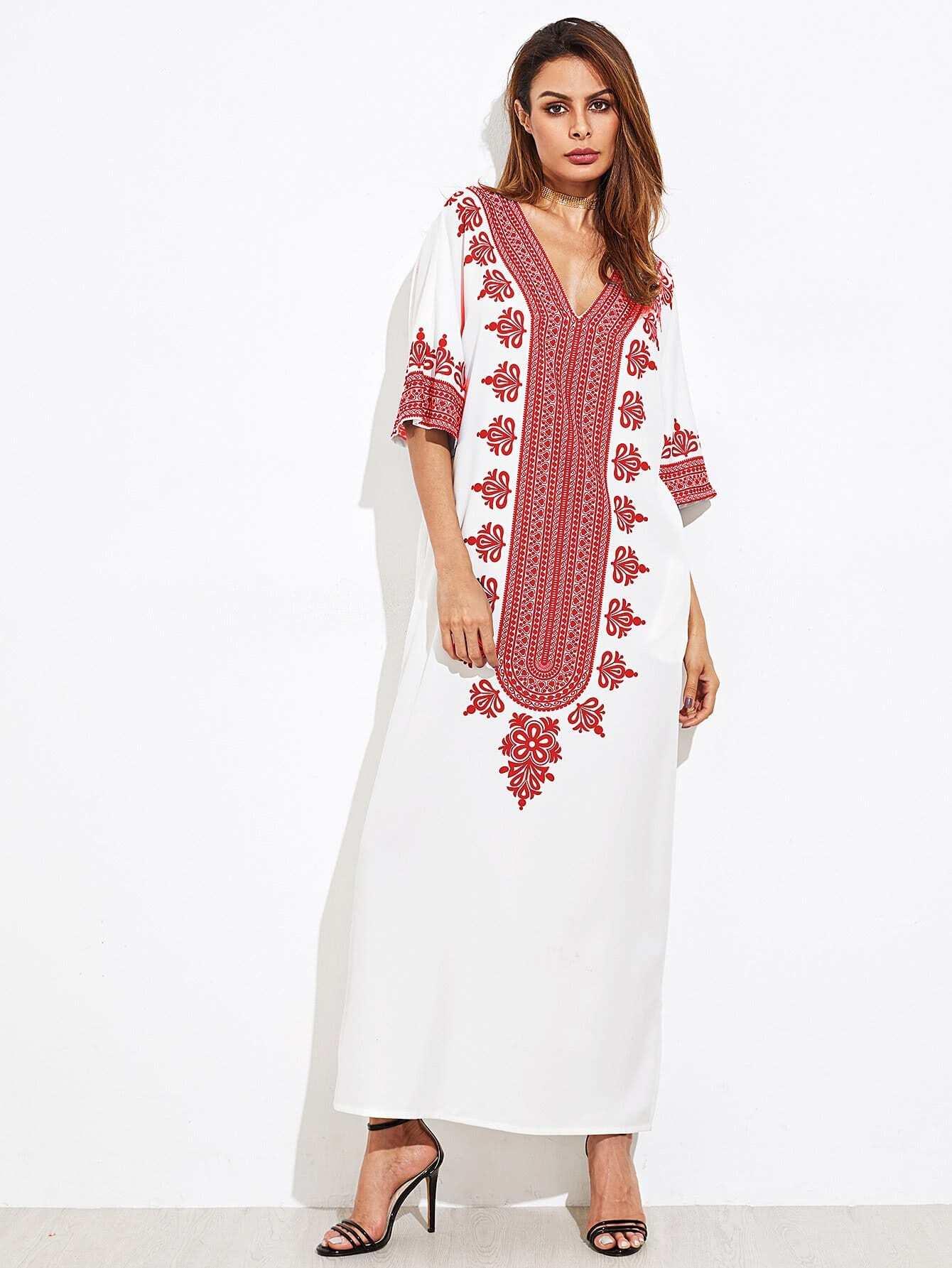 Купить Изысканное печатное платье для кимоно, Andy, SheIn