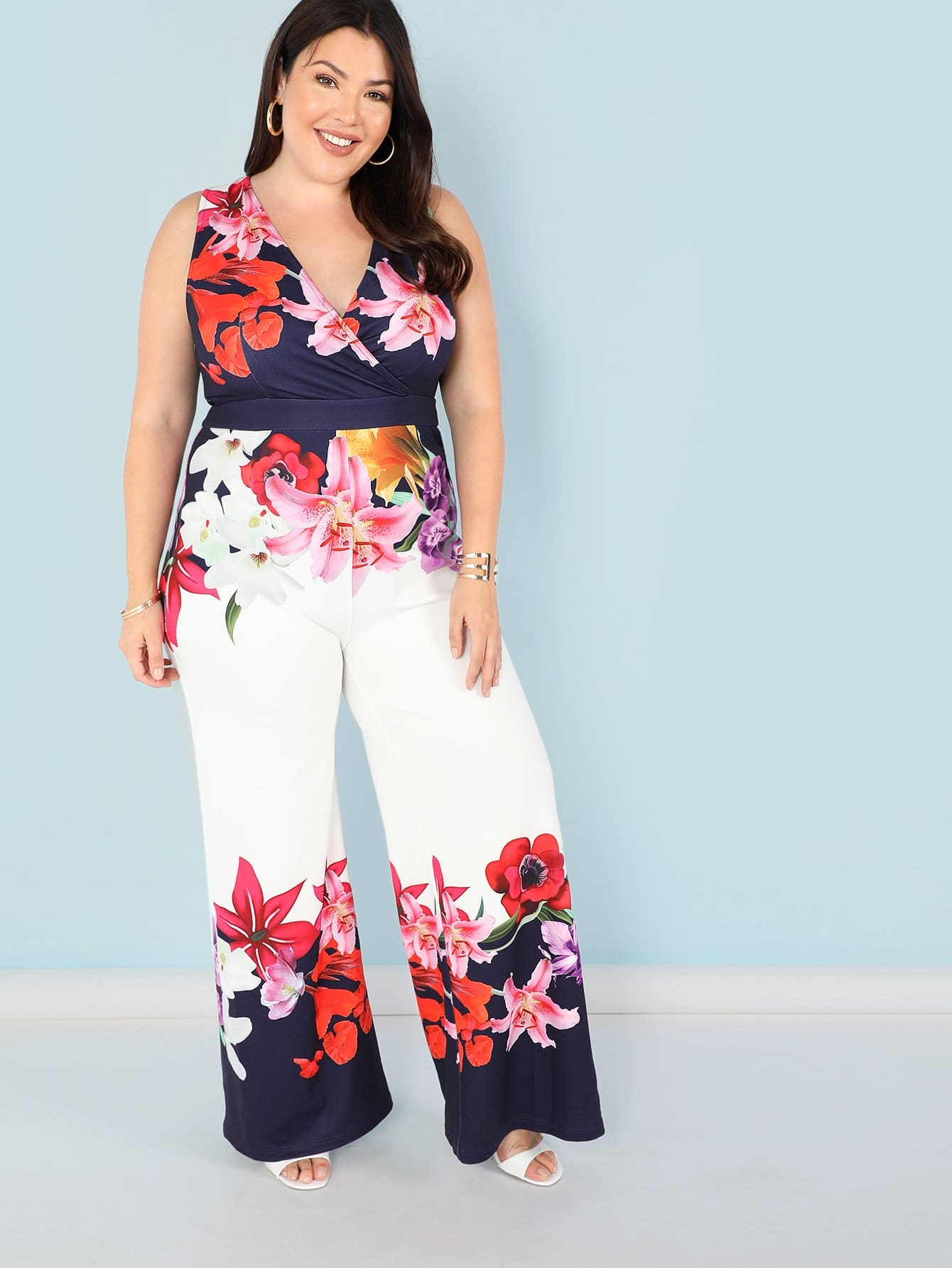 Plus Surplice Neck Flower Print Wide Leg Jumpsuit plus flower print wide leg cami jumpsuit