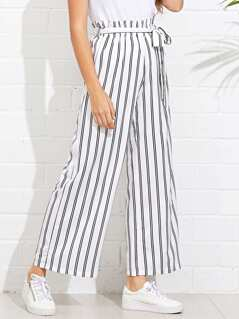 Self Tie Wide Leg Pinstripe Pants
