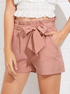 Self Belted Ruffle Waist Shorts