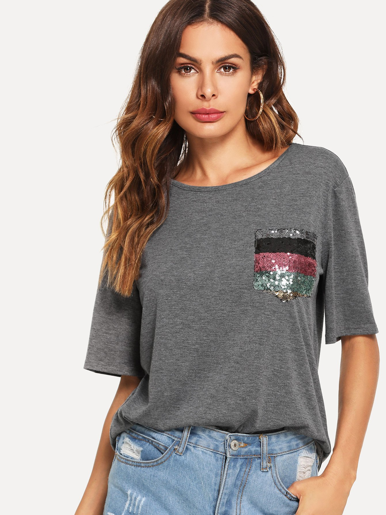 Sequin Pocket Patched Heathered Tee