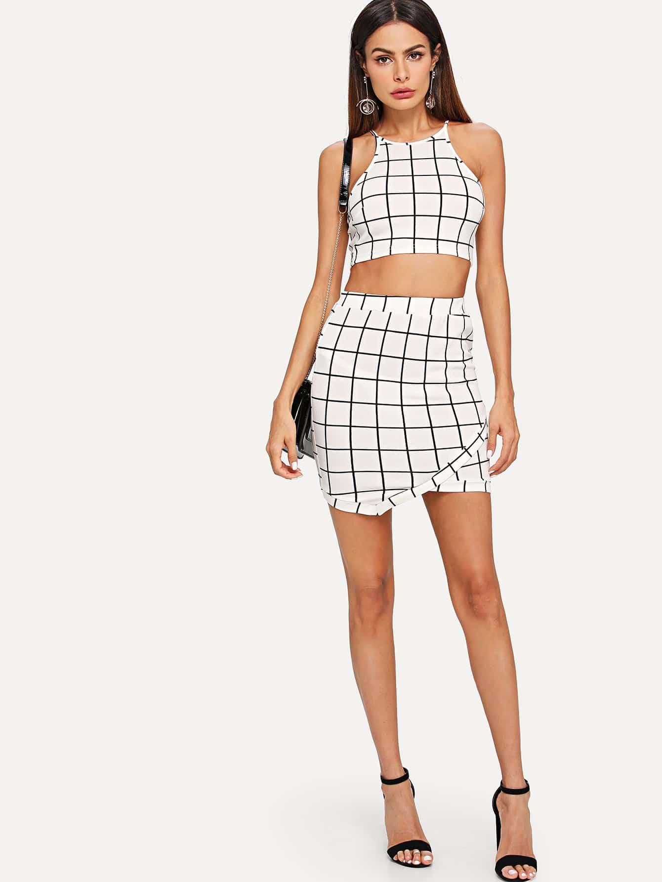 Grid Crop Halter Top & Wrap Skirt Set black choker sleeveless crop top