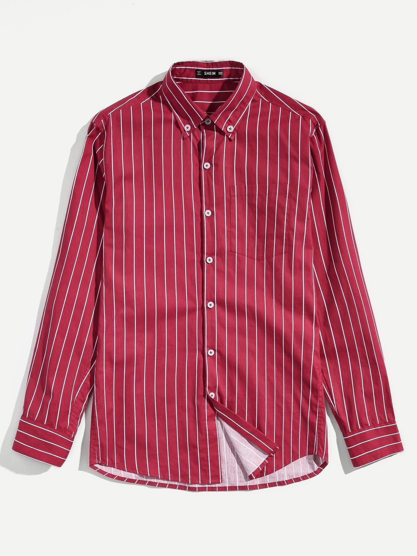 Купить Мужская полосатая карманная ручная рубашка, null, SheIn