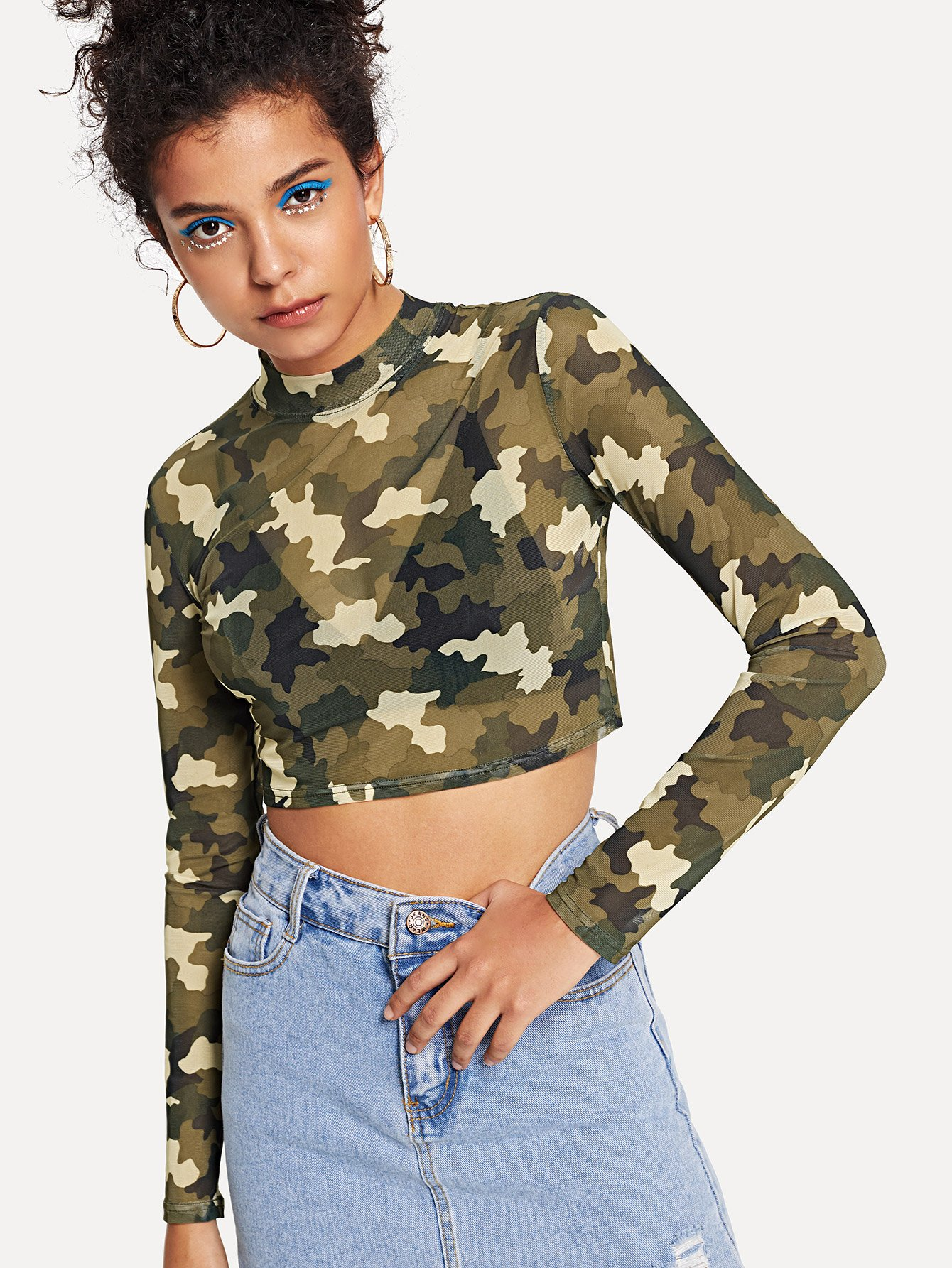 Camo Print Mock Neck Sheer Tee