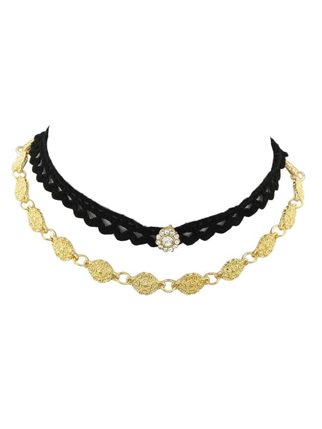 Lace Metal Flower Choker Collar Necklaces