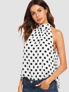 Polka Dot Bow Tie Back Halter Top