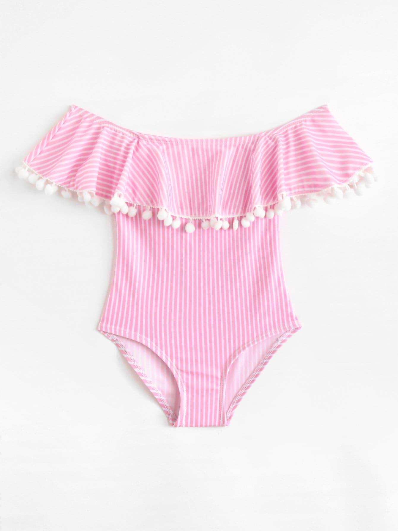 Купальник для девочек Pom Trim Striped Flounce