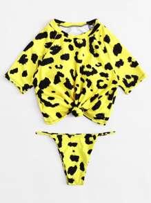 Leopard Knot Front Two Piece Swimwear