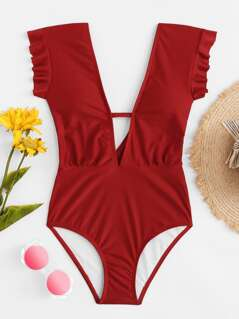 V-Plunge Ruffle Shoulder One Piece Swimsuit