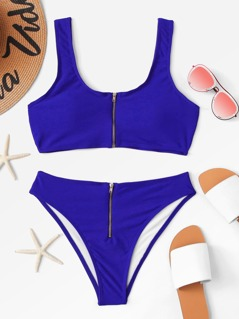 Zipper Front Plain Bikini Set
