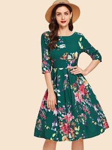 Floral Print V Neckline Back Dress