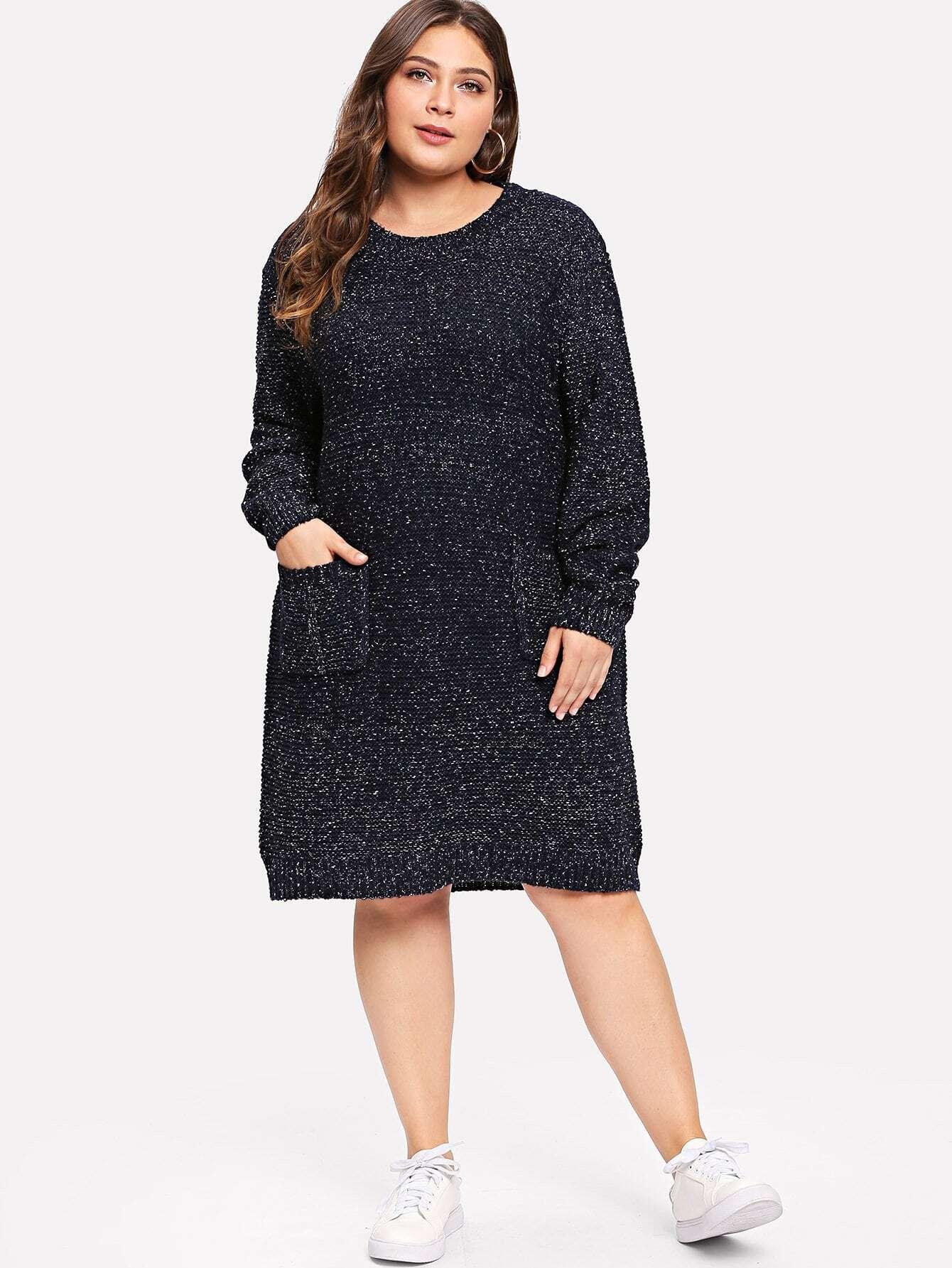 Купить Карманный патч Marled Sweater Dress, Carol, SheIn