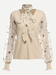 Embroidery Mesh Applique Tied Neck Jumper