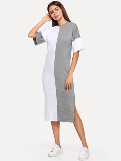 Two Tone Side Slit Pencil Dress