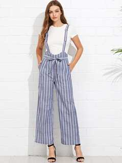 Belted Pinstripe Pants with Detachable Strap