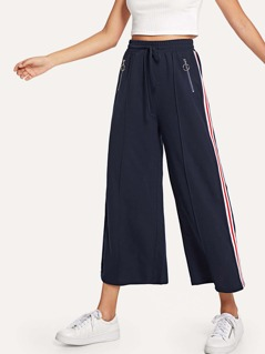 Zip Pocket Front Striped Side Culotte Pants